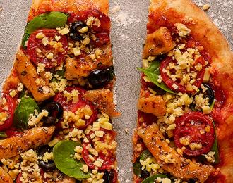 Pizza Mediterranea con tiras estilo pollo Fry´s 450gr.
