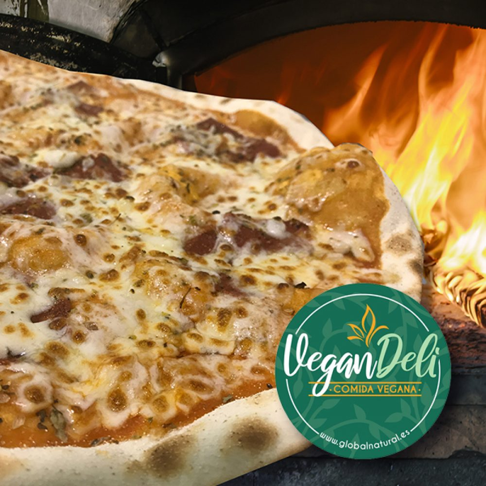 pizza vegana de chorizo