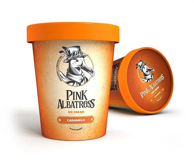 tarrina helado caramelo pink albatross helados veganos